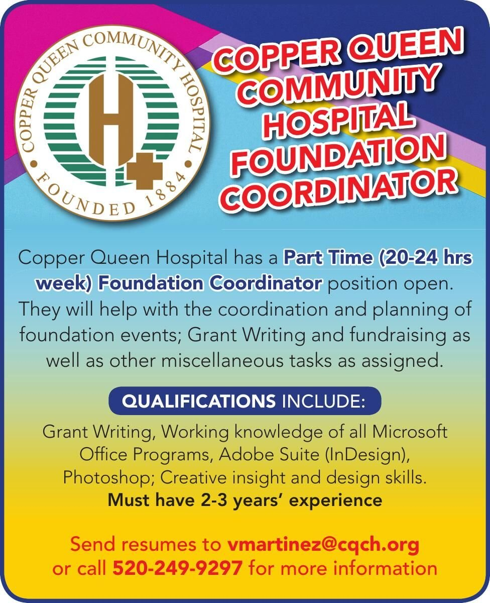 Copper Queen is hiring for a Foundation Coordinator