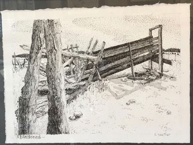 An oil and paper drawing by Carolyn Yeutter.