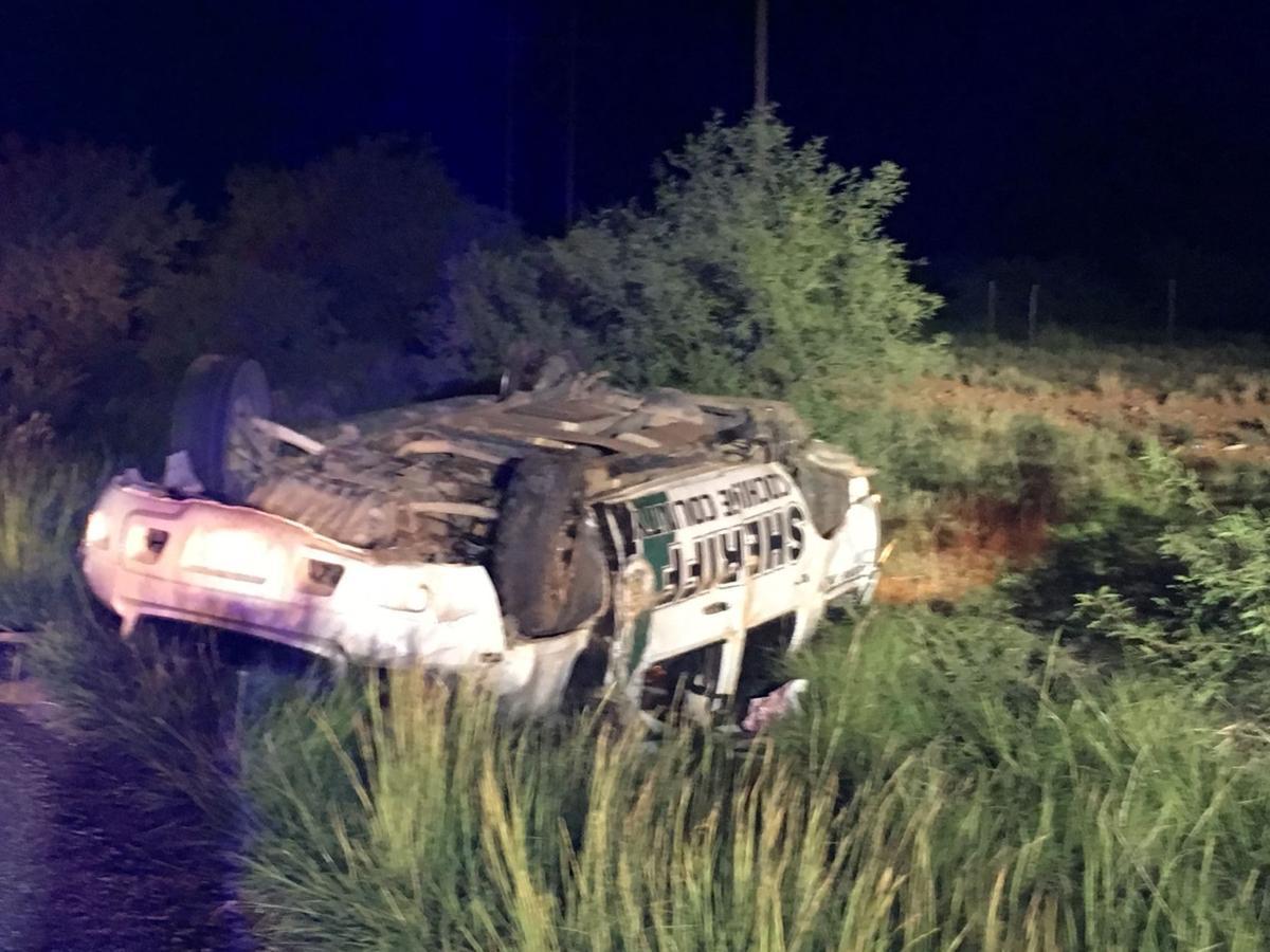 Overturned Sheriff's vehicle