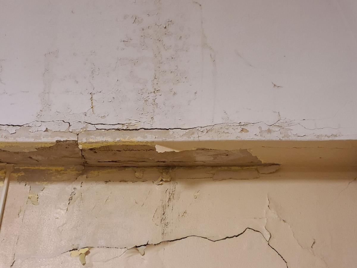 Crack located on the interior of Bowie High roof