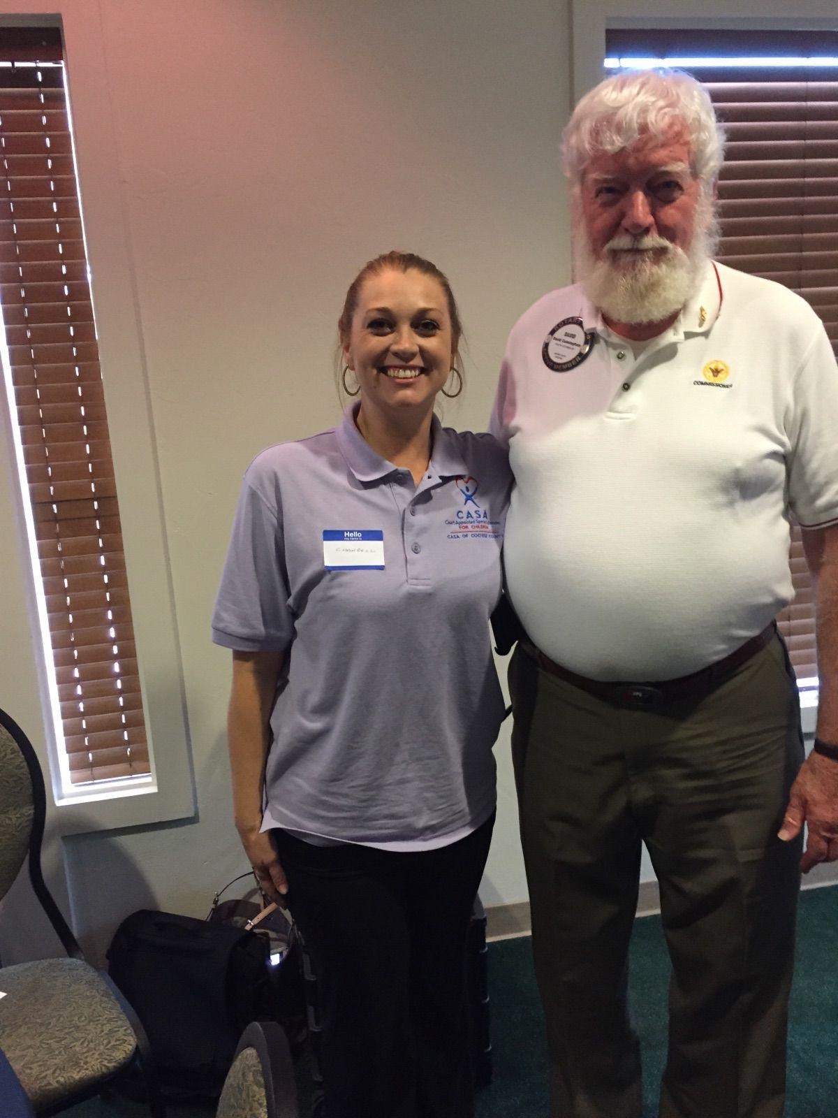 Rotarian Dave Cunningham stands with CASA Director Chantelle Bratset following her fascinating and informative program about CASA.