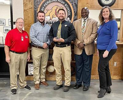 Pictured left to right: Monroe county Schools assistant superintendent Jackson Daniel; Southern Rivers Energy energy services specialist Josh Hendrix; principal Dr. Jim Finch; Athletic Director Robert Lindsey; CGEMC member engagement coordinator Christy Chewning.