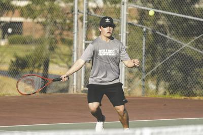 Junior Griffin Morris and the MP tennis boys beat Peach County. (Photo/Russ Campbell)