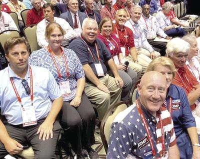 Monroe County Republicans at the state convention at Jekyll were George Emami, Chris Soule, Diane Soule, Stuart Pippin, Laurie Pippin, Sen. John Kennedy, Al Turner, Marty Curlee, Claude Curlee, Sloan Oliver, Sandra Oliver and John Ricketson.