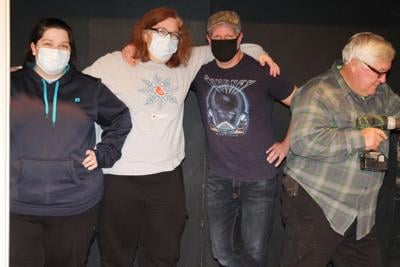 "Hard working volunteers are getting the set ready for The Backlot Players' first production of 2021, ""Smoke on the Mountain"". Pictured, left to right are Rachel Hunter, Elizabeth Hunter, Matt Robichaux and ""Drill Instructor"" Nipper Bunn. (Photo/Dennis Smith)"