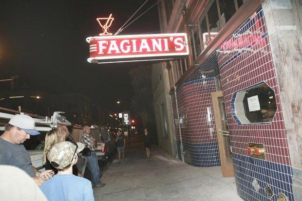 Fagiani's Bar Sign Lit