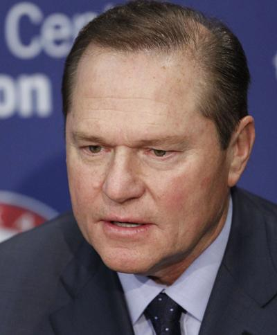 Player agent Scott Boras talks with the media as the Texas Rangers introduced a free agent signing at Rangers Ballpark in Arlington on December 27, 2013, in Arlington, Texas.