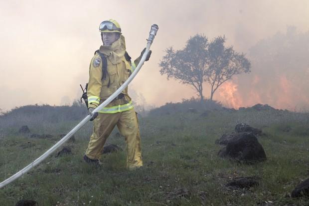 High winds fan grass fire off Soda Canyon Road