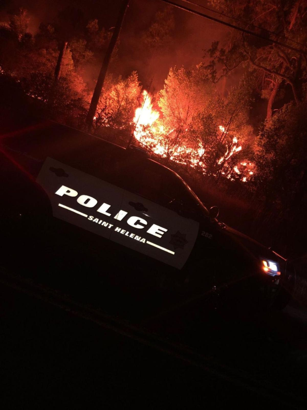 St. Helena police car during Hennessey Fire