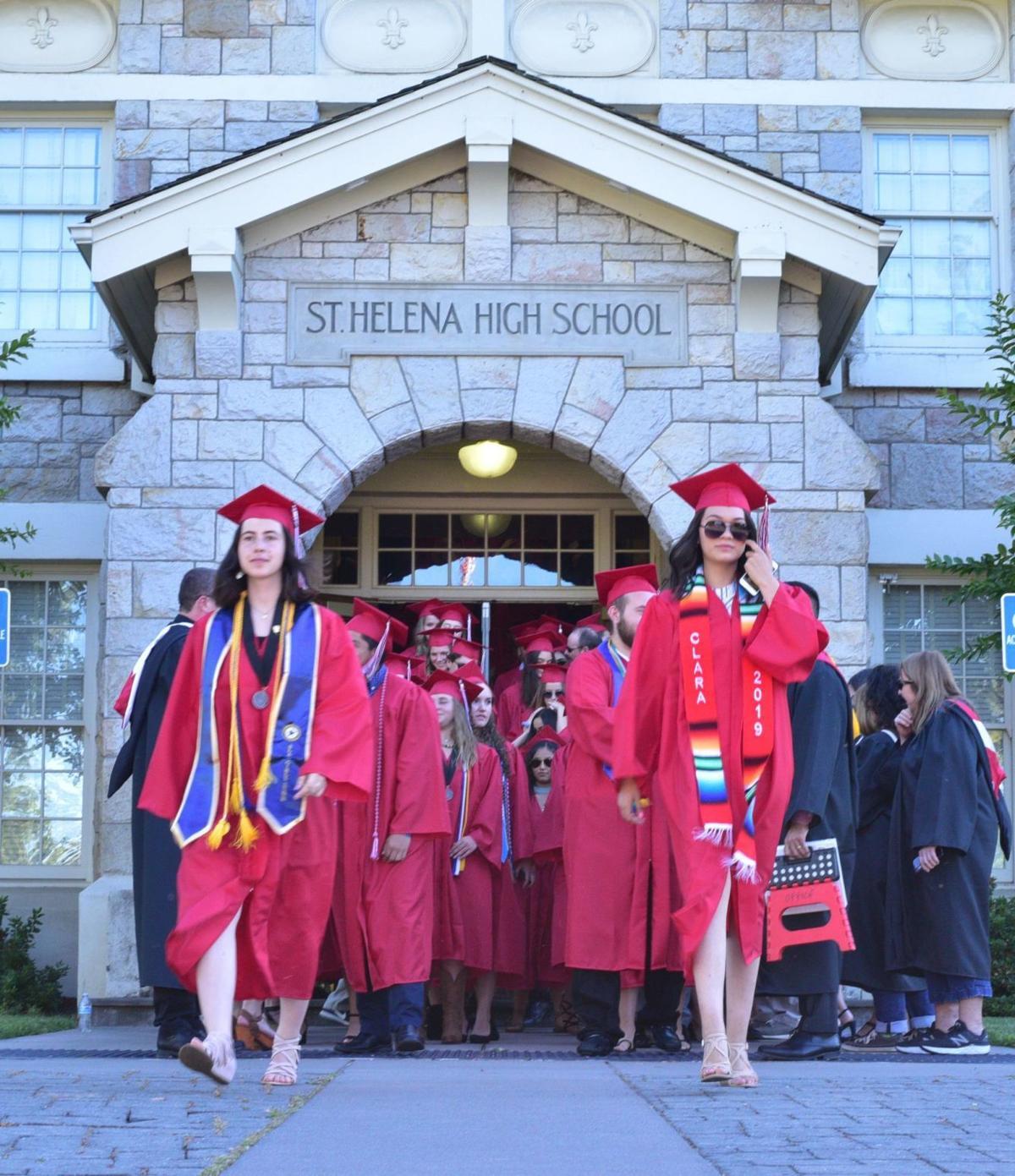 St. Helena Graduates march