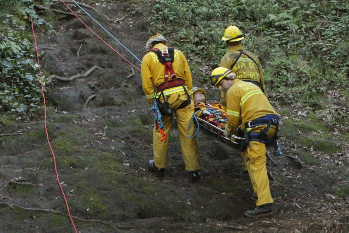 Firefighters practice low-angle rescues in Napa's Westwood Hills