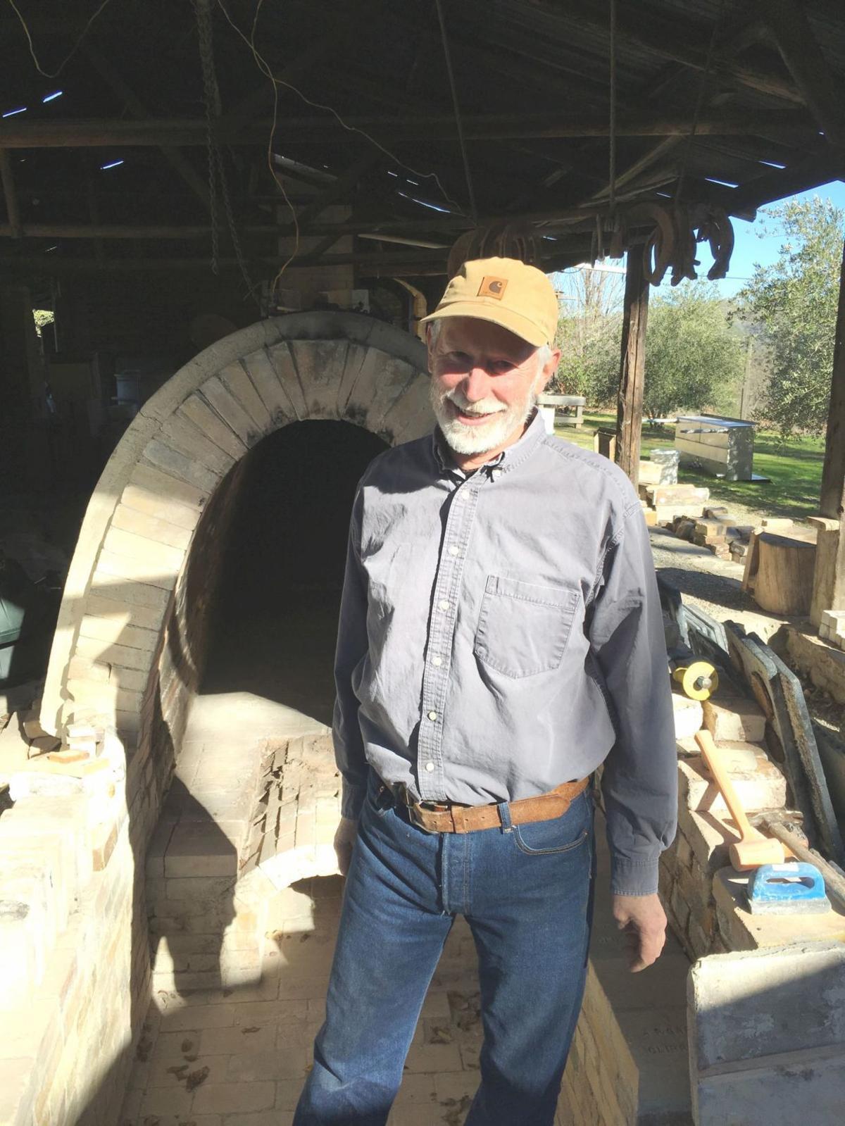 Richard Carter at his wood-fired kiln