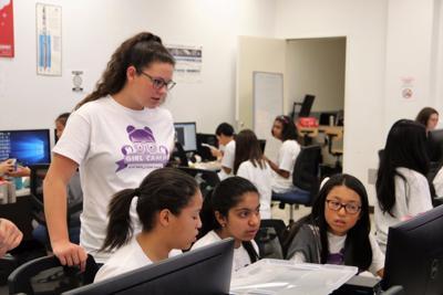 Katrina Cole and Malaysia Hilliard at UC Davis girls leadership robotics camp