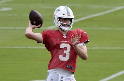 Miami Dolphins quarterback Josh Rosen throws a pass during practice in Davie, Fla., on Wednesday, Oct. 9, 2019.