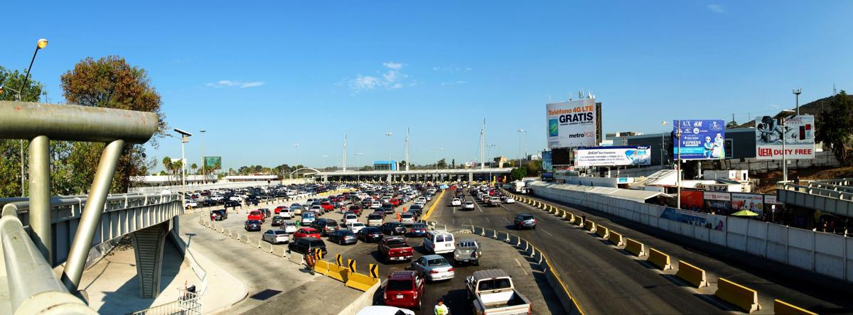 Traffic lines at border control at San Ysidro, entering USA from Mexico