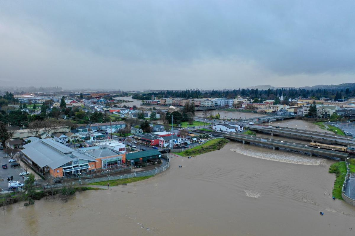 Drone, river and bypass behind Oxbow