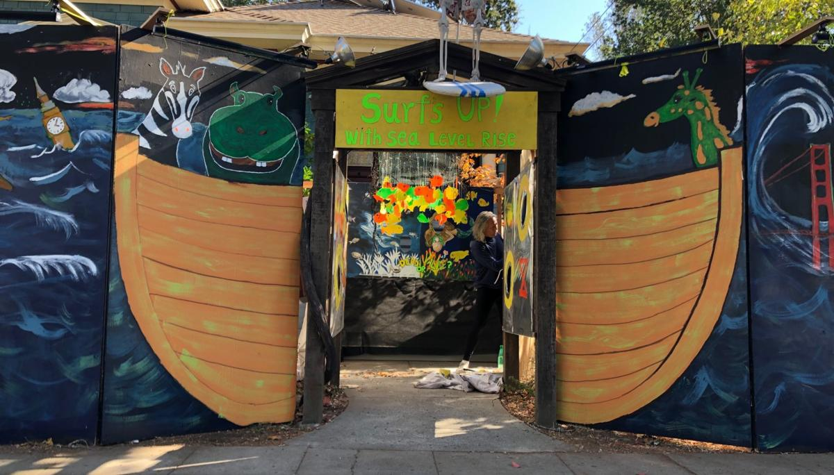 Surf's Up with Sea Level Rise Halloween installation