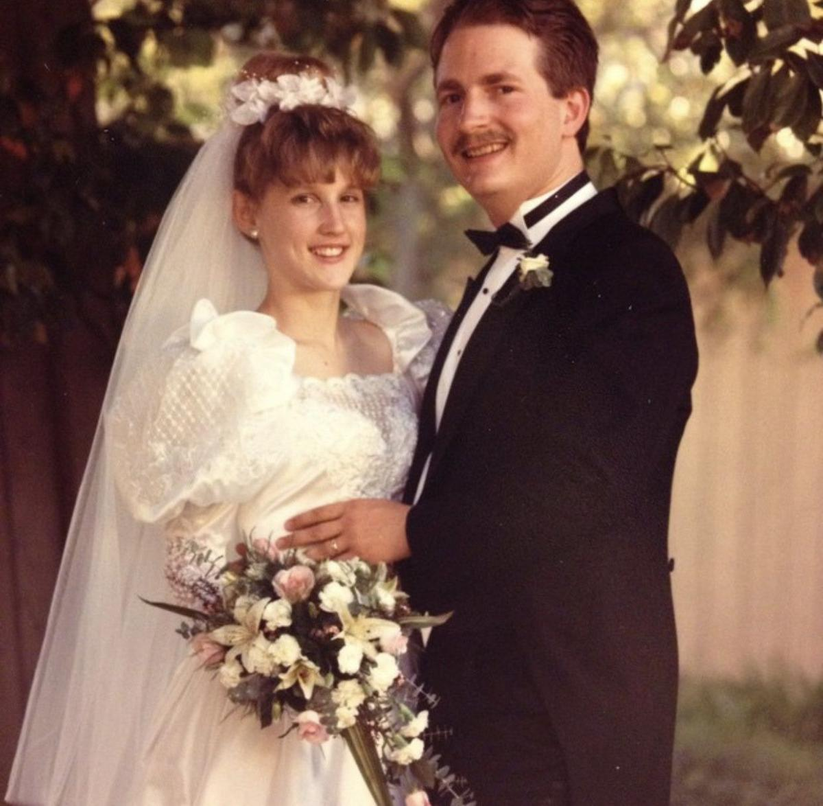 A photo of the 1989 wedding of Jennifer and her new husband Donnie Huffman.
