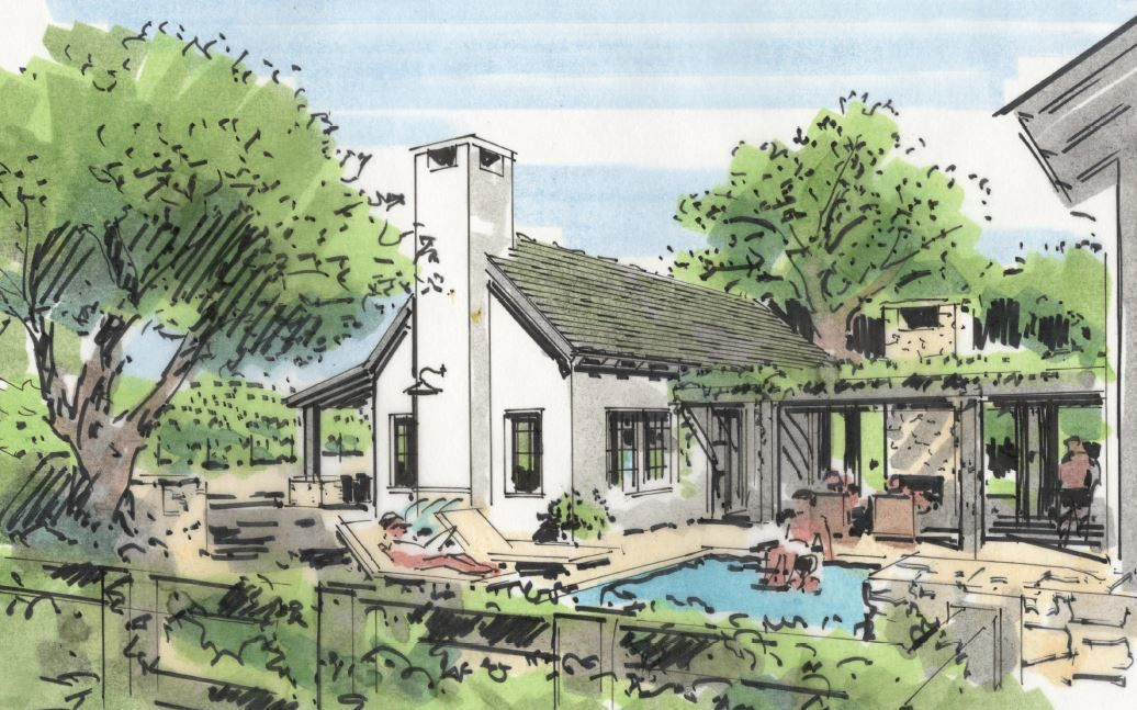 An artist image of the Stanly Ranch Vineyard Homes in south Napa.