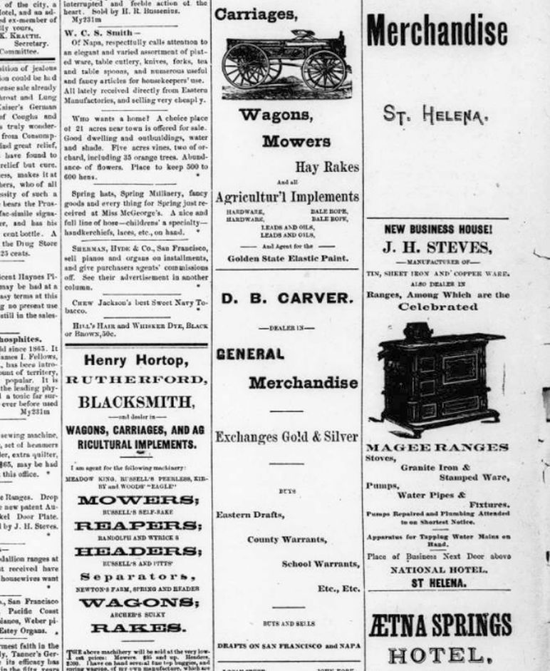 An 1894 page from the St. Helena Star