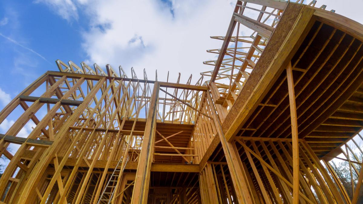 Wooden framing of a home, full frame new construction of a new house framing of a home, full frame