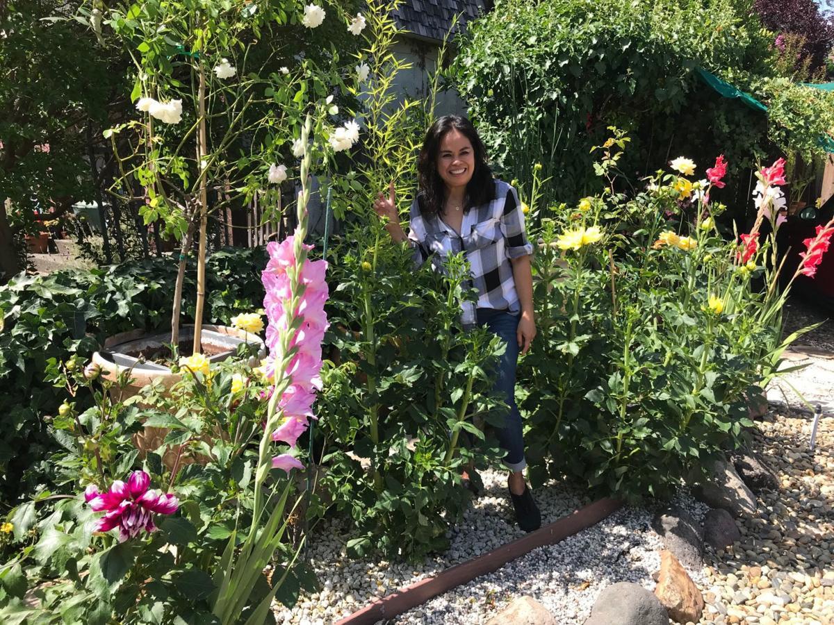 Marcell Gallagher in her garden.