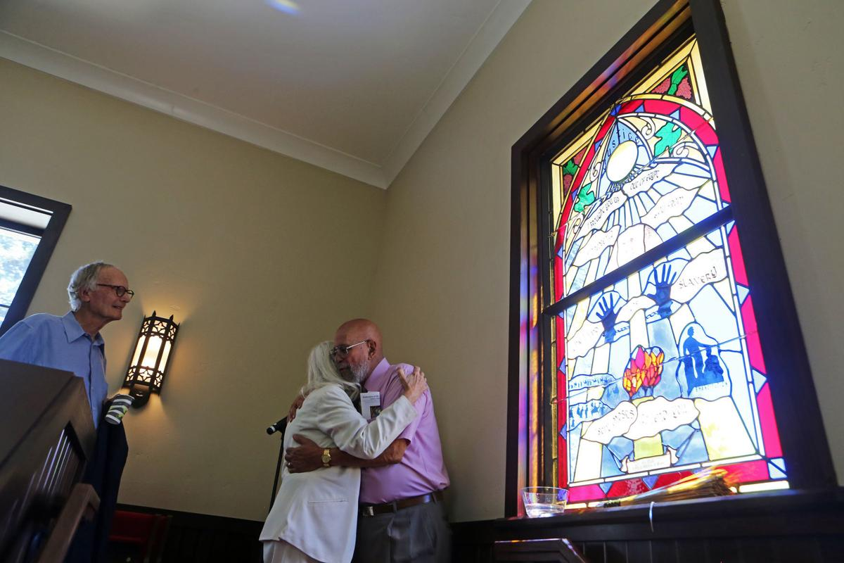 Bell ringing and stained-glass dedication in St. Helena