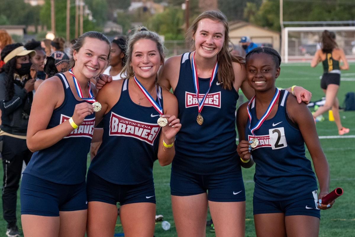 Justin-Siena's girls 4x400 relay runners