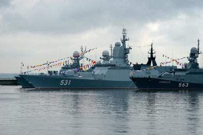 Russian warships docked in Peter the Great (middle) Harbor