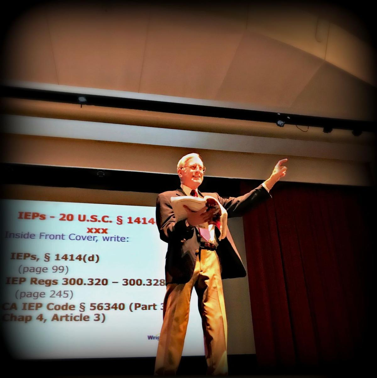 Pete Wright of Wrightslaw at Lincoln Theater in Yountville