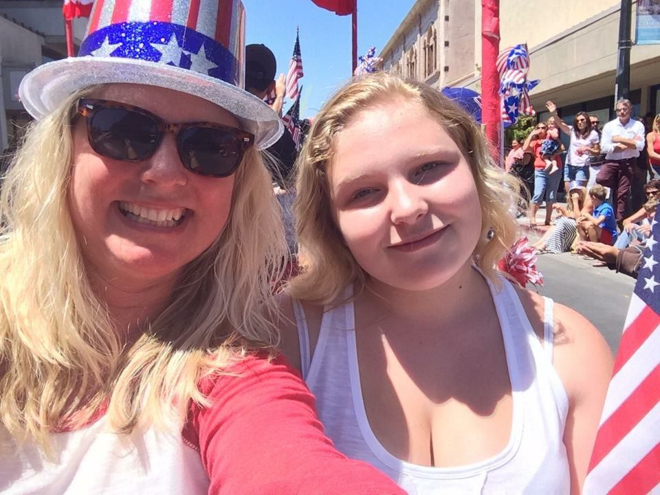 Rachael Clark and her niece Emma Brooks at the 2015 July Fourth parade in Napa