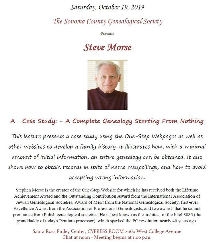 The Sonoma County Genealogical Society Flyer