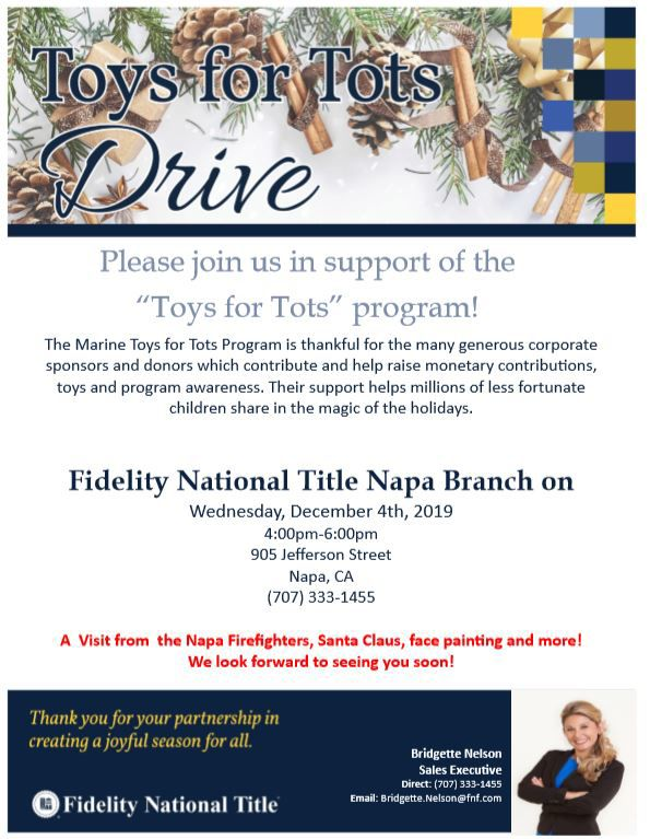 Toys for Tots Drive at Fidelity National Title