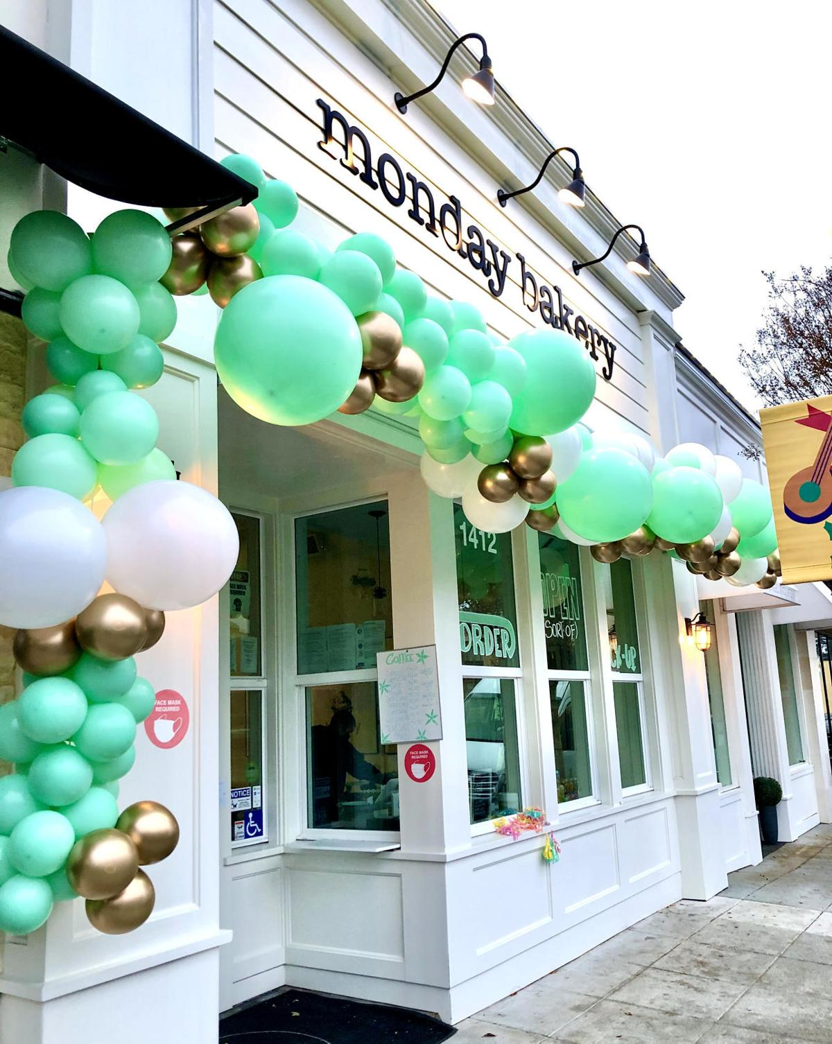 A large garland made for Monday Bakery by Balloon Girl Napa.