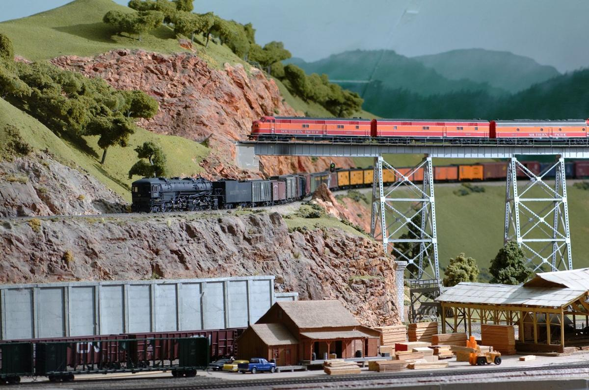 Trains running on part of the layout at the Napa Valley Model Railroad Historical Society