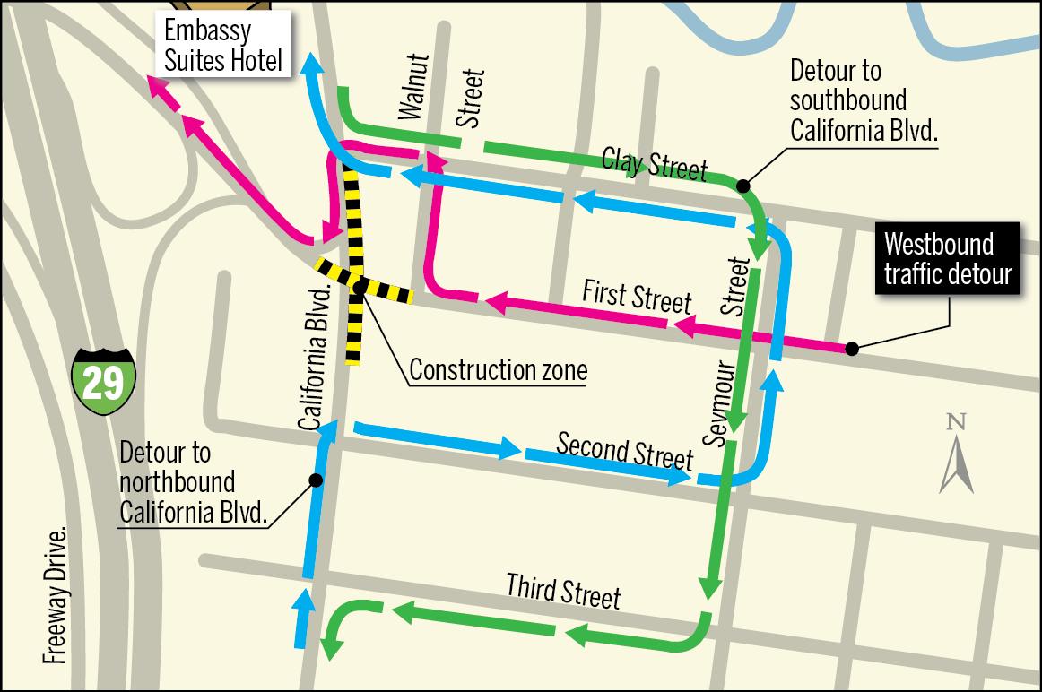 First Street detours