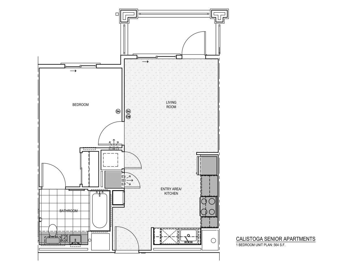 1-bedroom unit at Calistoga Senior Apartments
