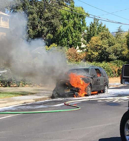 Fire destroys vehicle in St. Helena