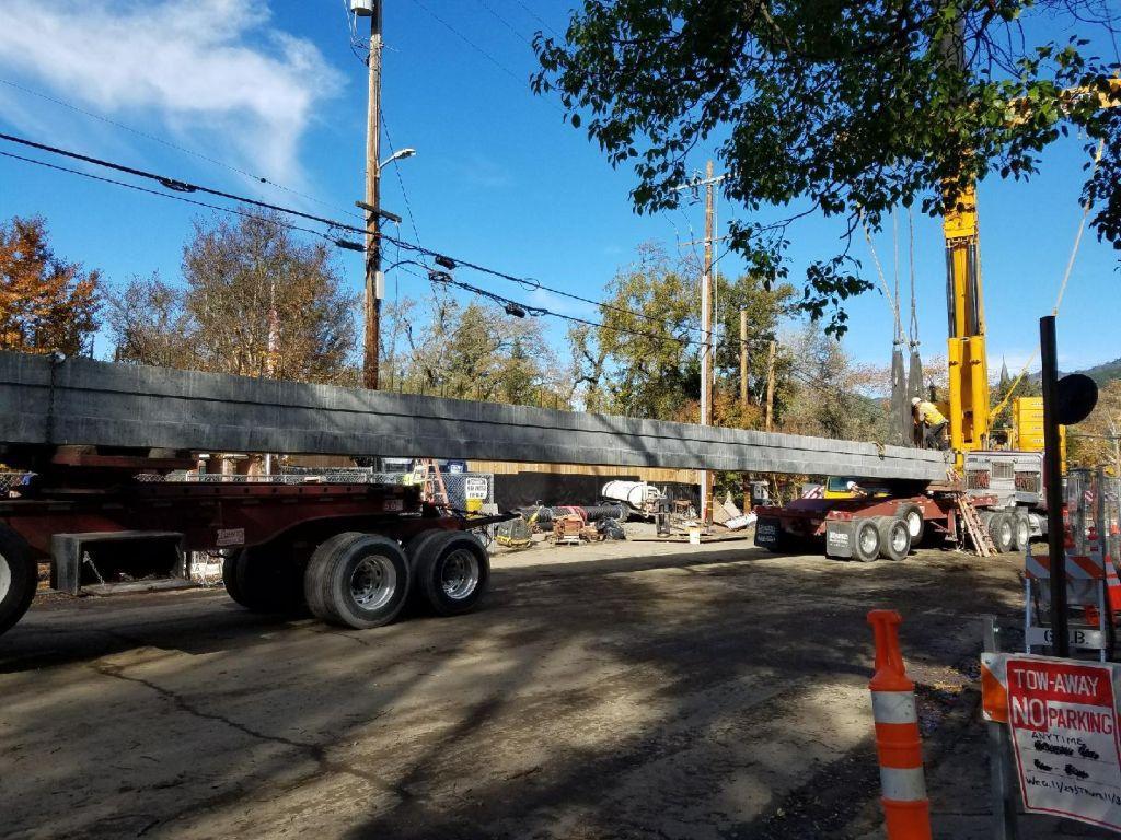 Crane operating on Berry Street Bridge