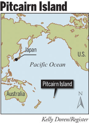 A map of Pitcairn Island.