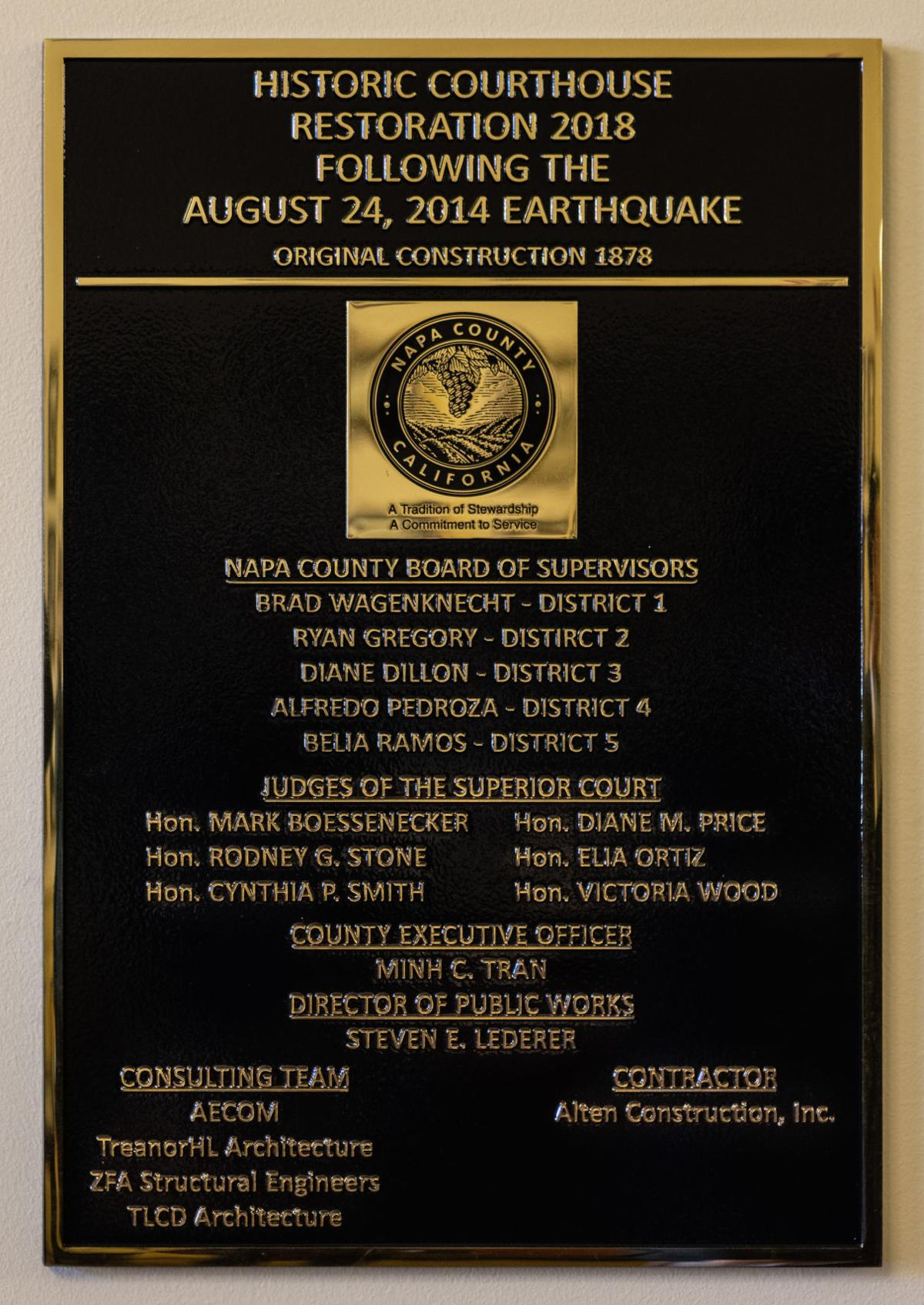 A plaque placed at the Napa County courthouse on Jan. 22 at the grand reopening ceremony