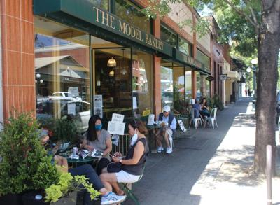 Outdoor dining at The Model Bakery, St. Helena