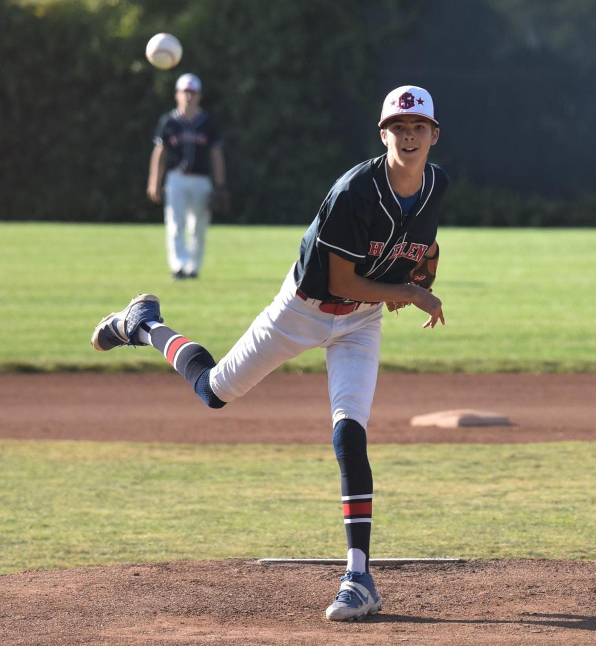 St. Helena starter Thomas Heil pitches