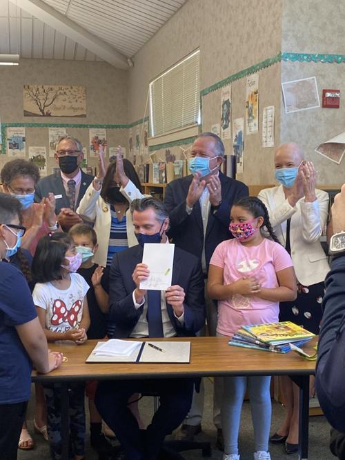 Gov. Gavin Newsom signs education funding bill at Napa school