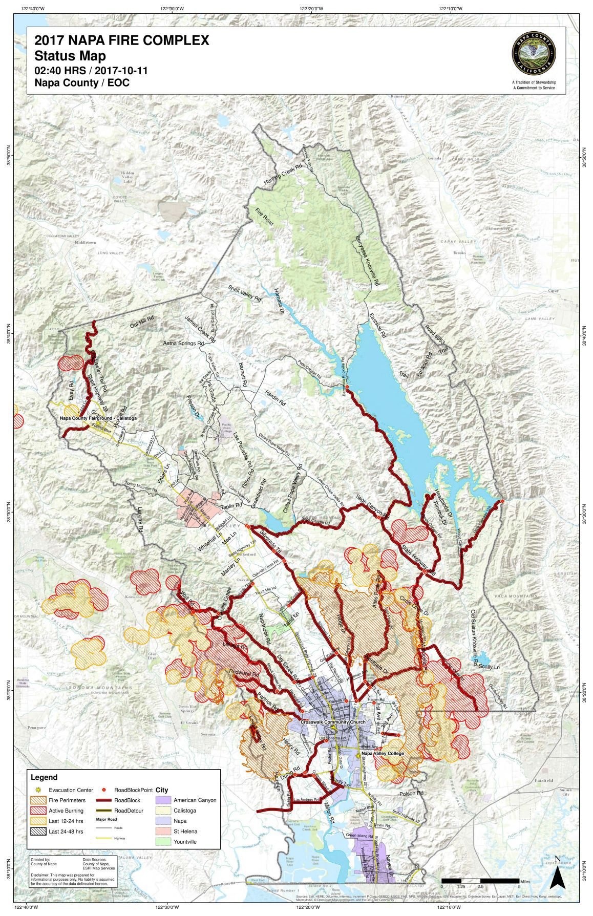Napa County fire map, Tuesday, Oct. 11, 2017