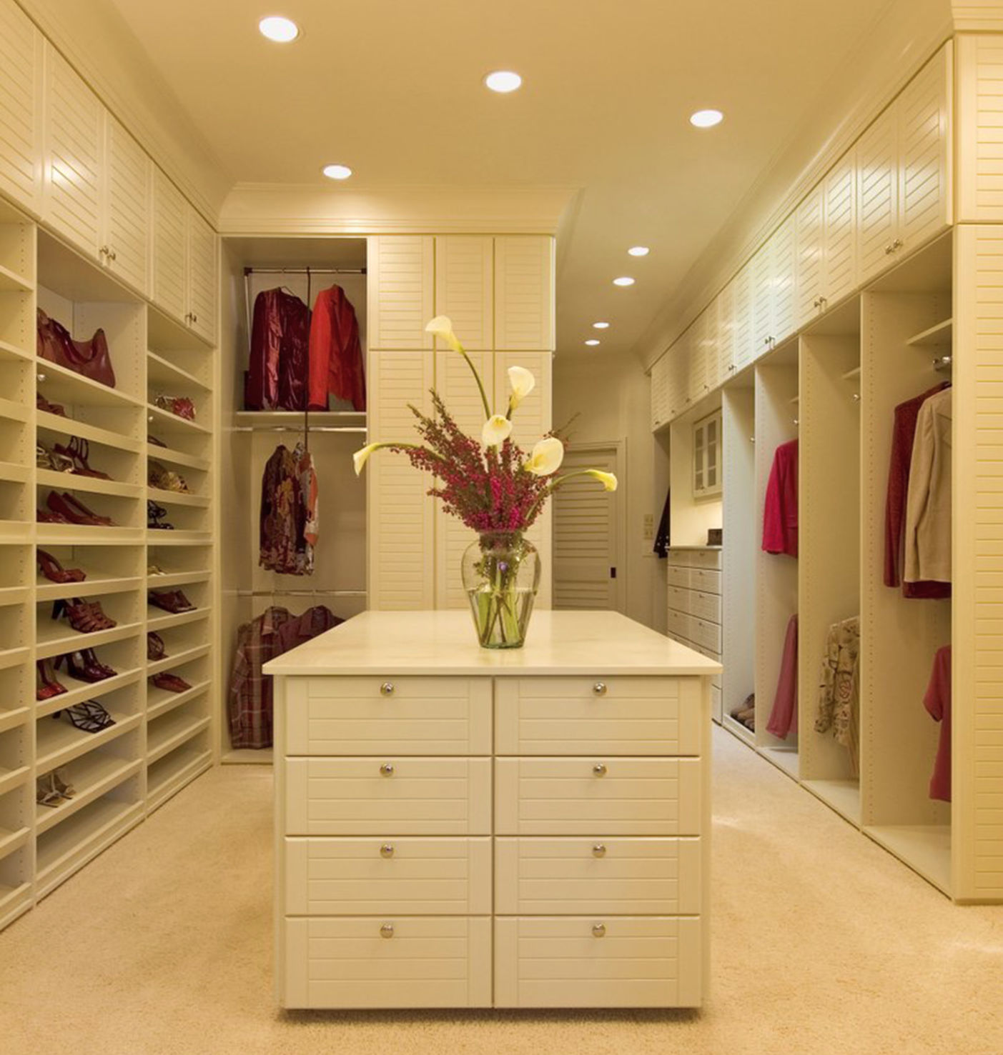 This Creamy (and Dreamy) Closet Was Designed For A Woman Who Travels A Lot.  She Wanted To Be Able To See Her Cloths While Standing In The Middle Of The  ...