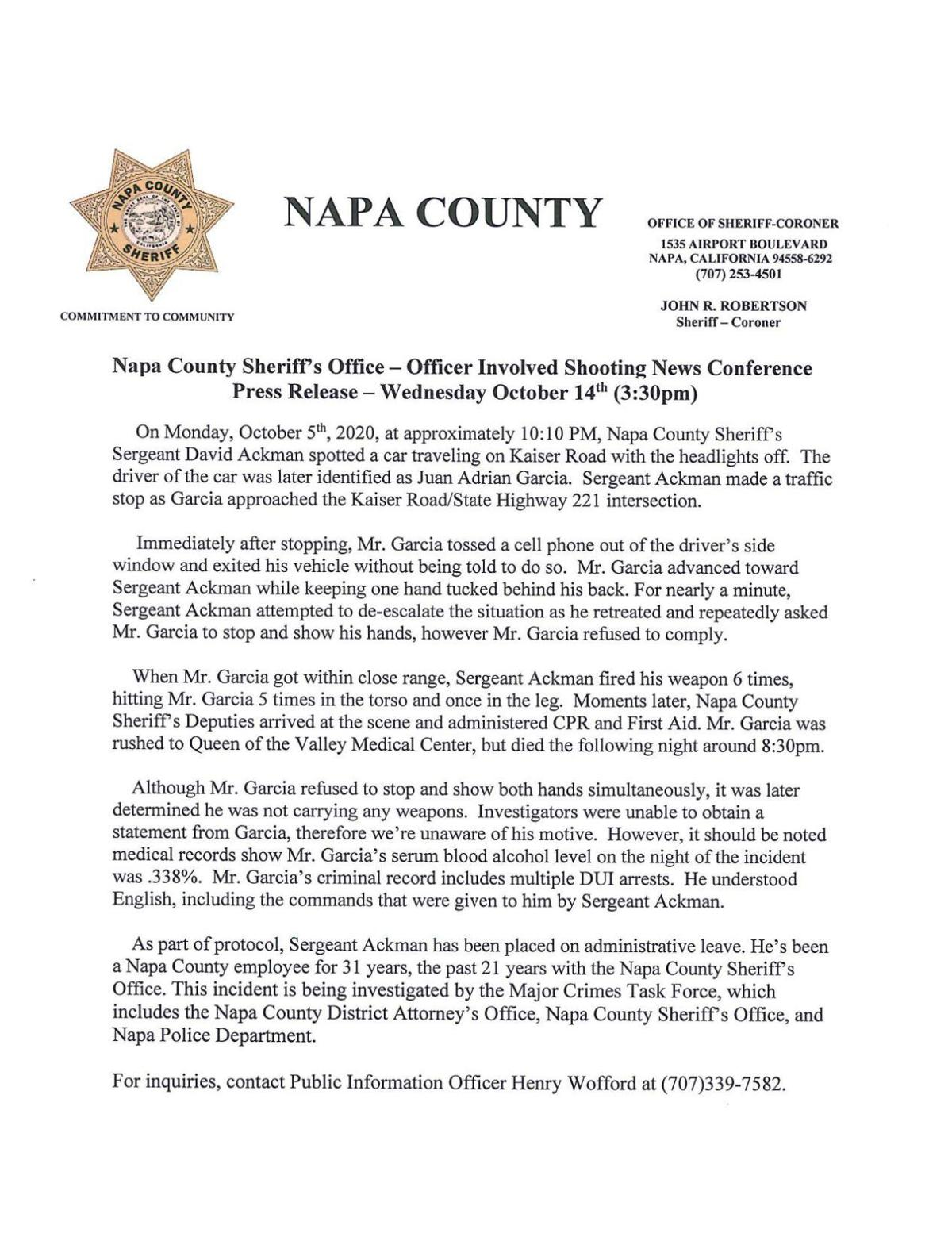 Napa County Sheriff's Office Press Release: Officer-involved shooting