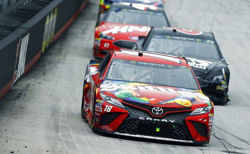 Busch passes Larson to win rain-delayed race at Bristol