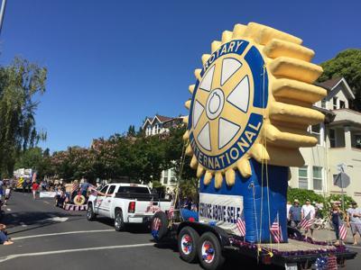 Napa Fourth of July Parade with Rotary symbol