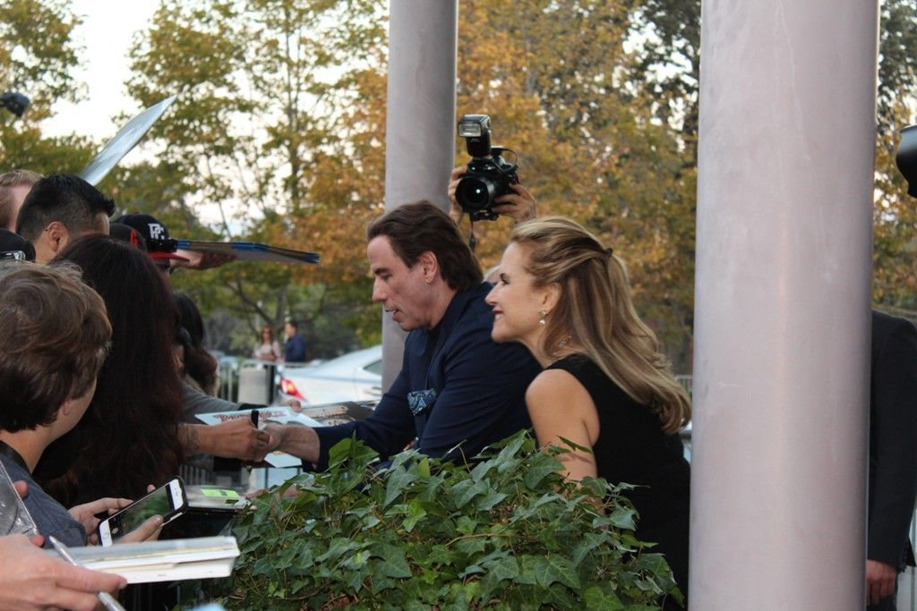 John Travolta and Kelly Preston outside Lincoln Theater in Yountville
